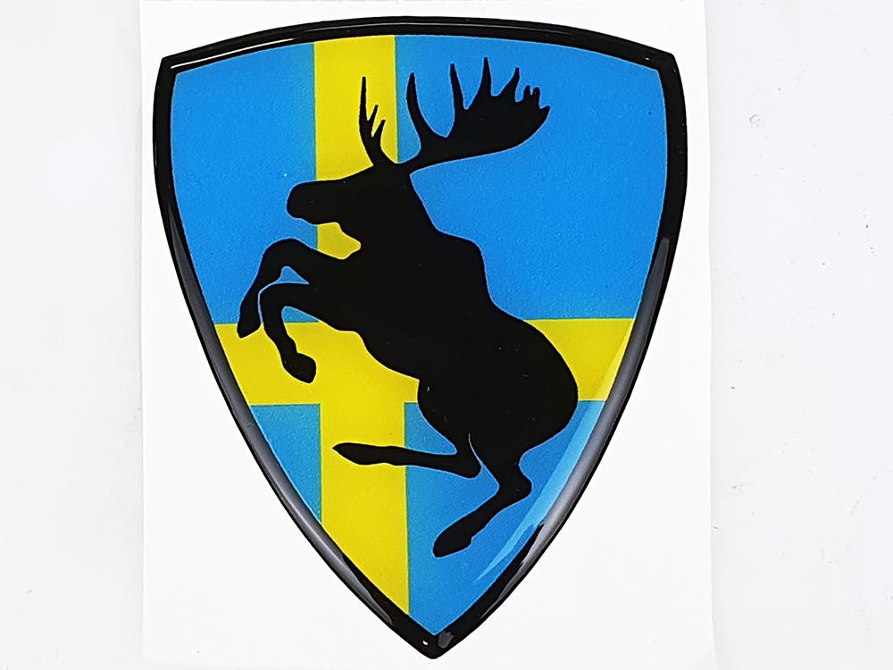 Sticker steigerende Eland Zweedse vlag