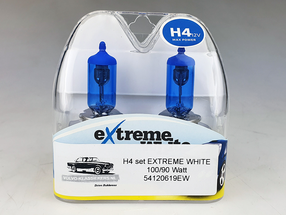 H4 lamp SET EXTREME WHITE 100 / 90 WATT