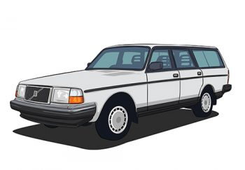 Poster Volvo 245 wit