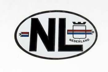 NL sticker ZILVER met Nederlandse vlag OVAAL