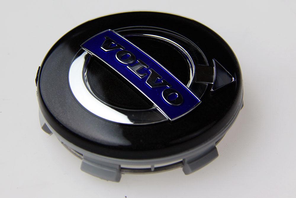 Naafkap origineel Volvo. Set van 4 stuks. Zwart met blauw logo.  200 t/m XC90.