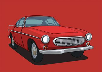 Poster Volvo P1800 Rood
